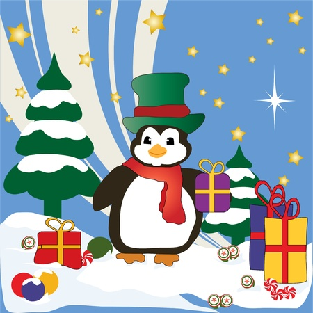 Hand Drawn Kerstmis Penguin Stock Illustratie