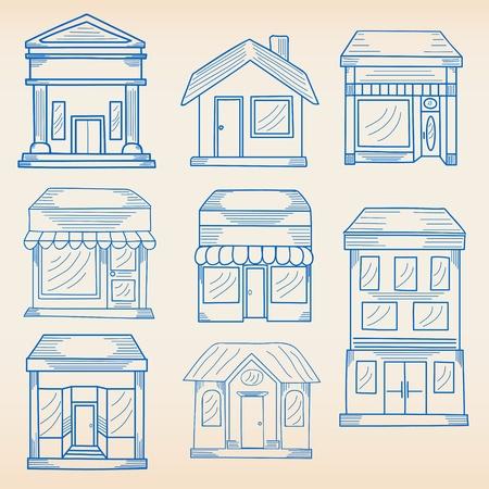 手描きのビジネス建物のアイコンを設定
