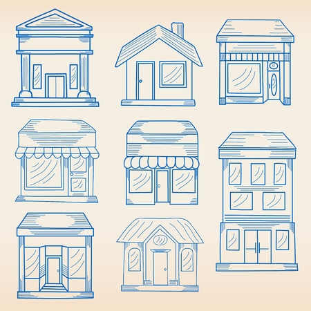 Hand Drawn Business Buildings Icon Set Vector