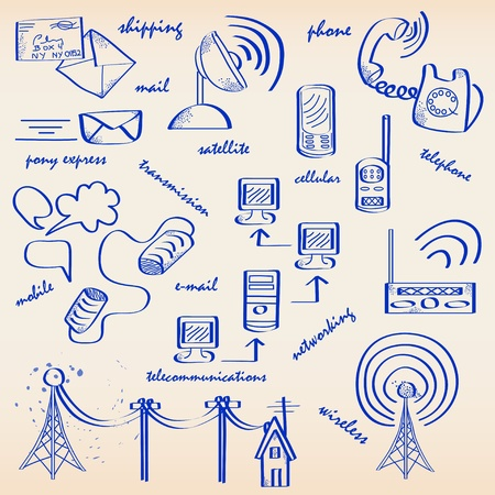 tin can phone: Hand Drawn Communication Icons Set