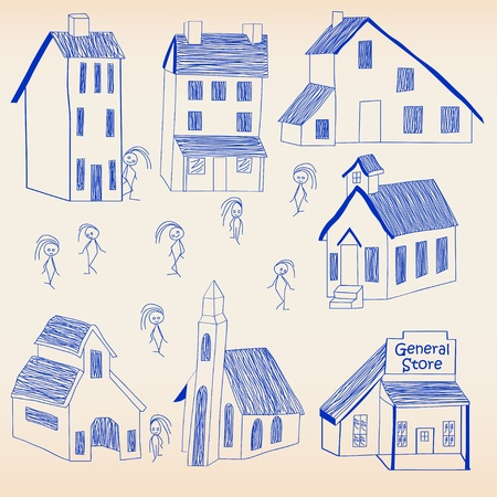 Hand Drawn Little Town Icon Set Vector