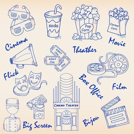 acomodador: Dibujado a mano Movie Icons Set.