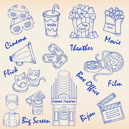 Hand Drawn Movie Icons Set. Vector