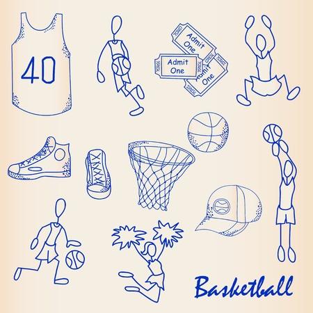 Dibujado a mano los iconos del baloncesto Establecer el vector de eps10 Foto de archivo - 12195325