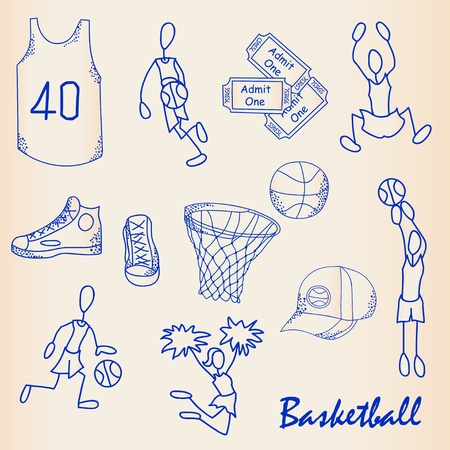 Hand Drawn Basketball Icons Set   vector eps10 Illustration