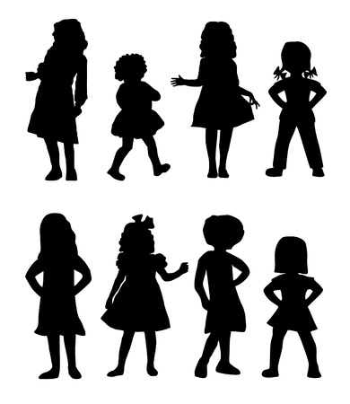 Girl Silhouettes          vector eps10 Illustration