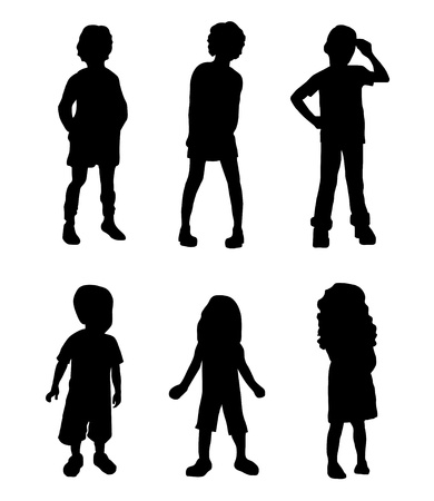 Children Silhouettes    vector eps10