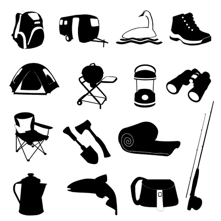 Camping Icons Set vector eps10 Stock Illustratie