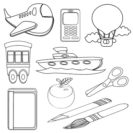 Coloring Book Icons Set vector eps10 Stock Illustratie