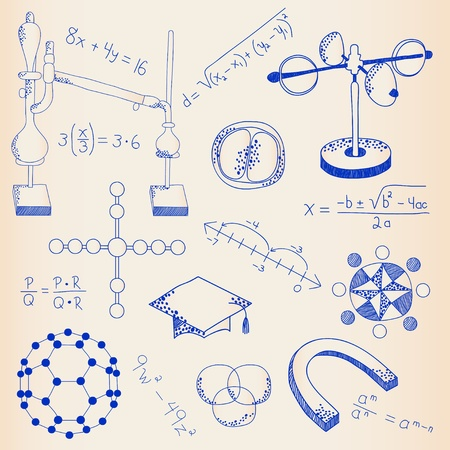 Hand Drawn Science Icons Set       vector eps10 Ilustracja