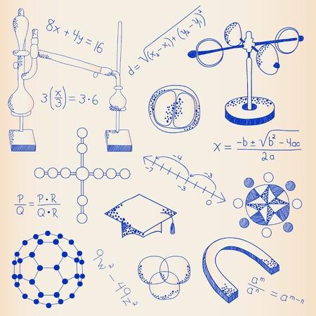 rekensommen: Hand Drawn Science Icons Set vector eps10