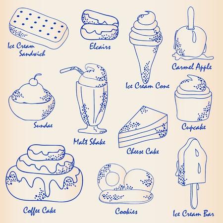 Disegnato a mano Icona Dessert Set vettoriale eps10 Archivio Fotografico - 12195330
