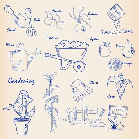 Hand Drawn Gardening Icon Set        vector eps10