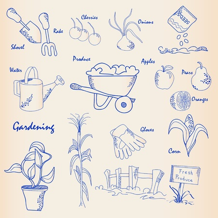 Hand Drawn Tuinieren Icon Set vector eps10 Stock Illustratie