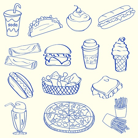 Hand Drawn Fast Food Icon Set            vector eps10 Stock Vector - 12195333