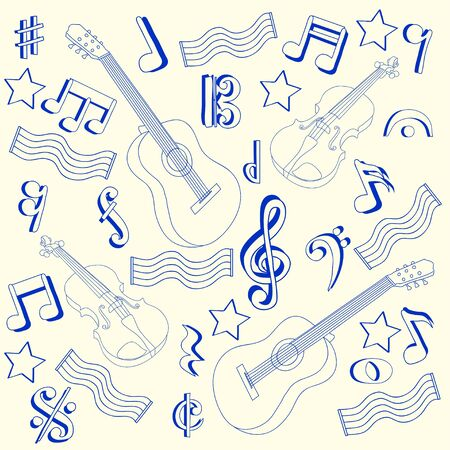 Drawn Music Notes Icon Set           vector eps10 Иллюстрация