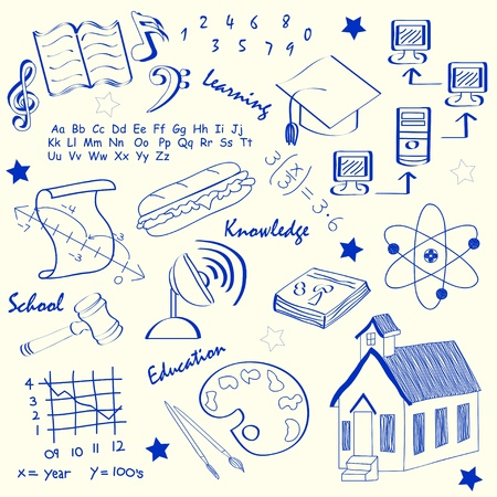 Hand Drawn School Icon Set        vector eps10 Illustration