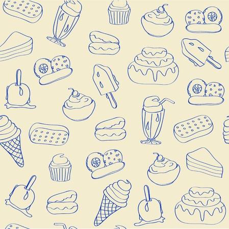 Hand Drawn Naadloze Dessert Pictogrammen