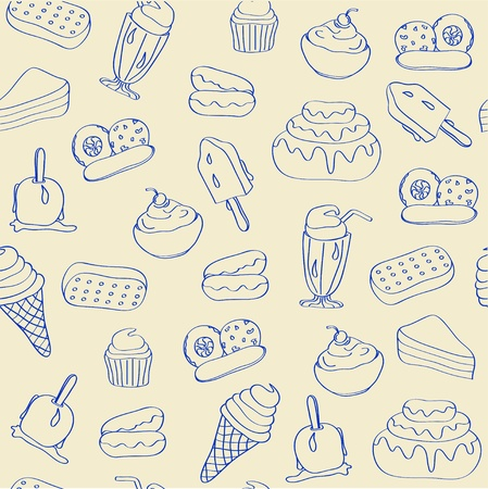 eisbecher: Hand Drawn Seamless Dessert Icons Illustration