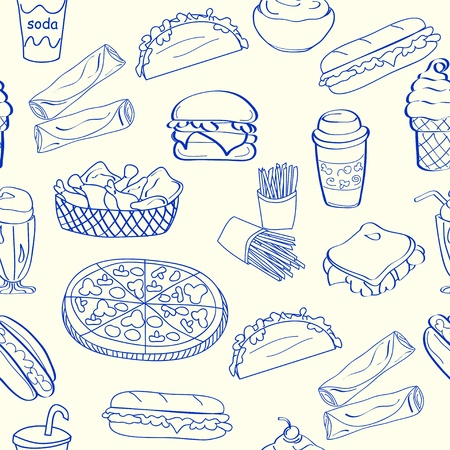 Hand Drawn Seamless Fast Food Icons Vector