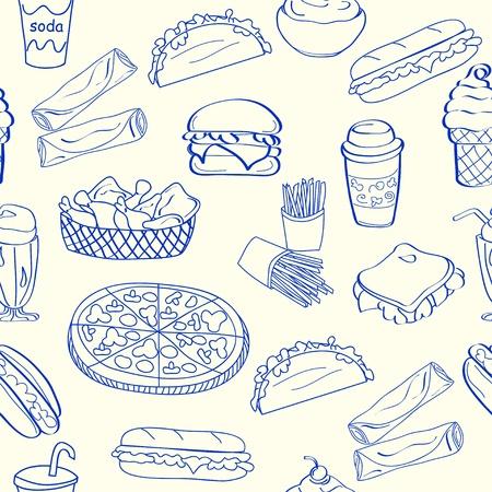 Hand Getrokken Naadloos Fast Food iconen