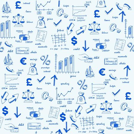 Hand Drawn Naadloze Financiën Pictogrammen Stock Illustratie