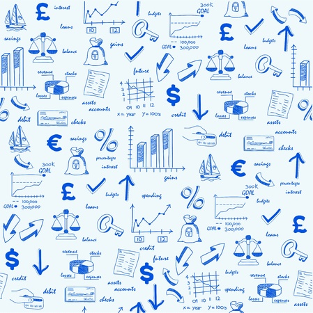 hand drawn: Hand Drawn Seamless Finance Icons Illustration