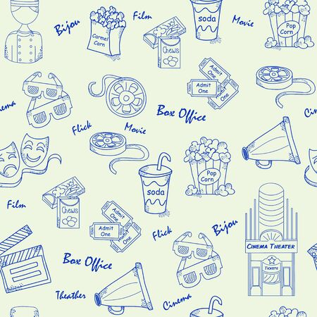 Hand Drawn Seamless Movies Icons Vector