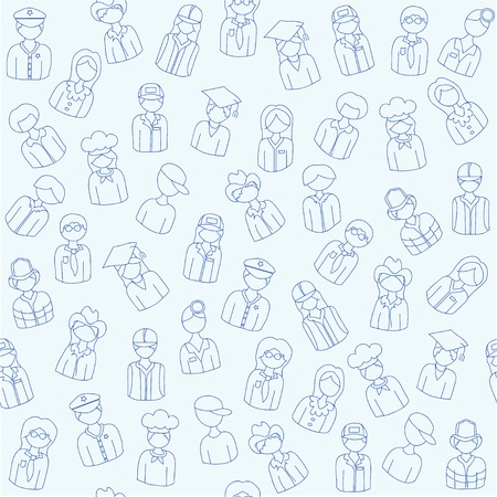 Hand Drawn Seamless People Occupatios Icons