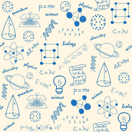 wetenschap: Hand Drawn Naadloze Science Icons