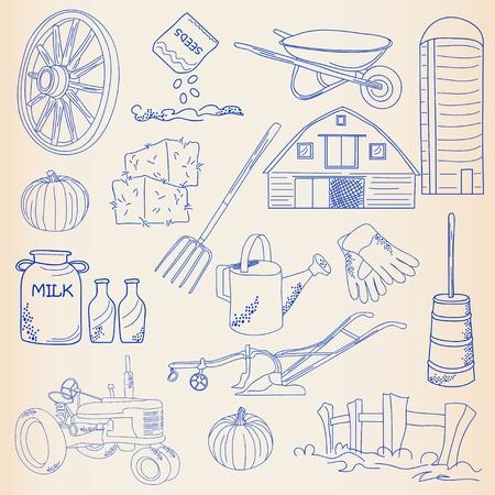 arando: Dibujado a mano Farming Icon Set