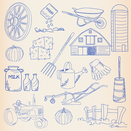pumpkin seeds: Hand Drawn Farming Icon Set Illustration