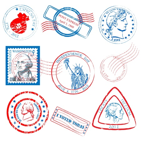 Historical Stamps Collection Set Vector