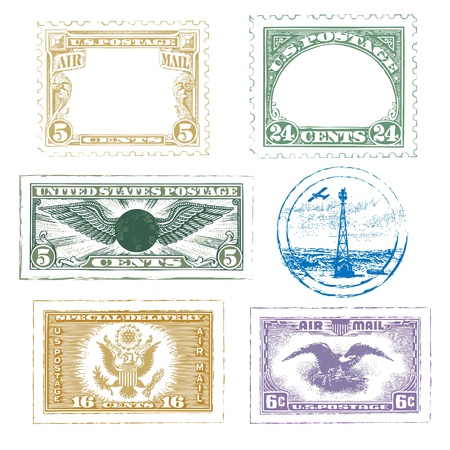 vintage: Vintage Air Mail Stamps Icon Set