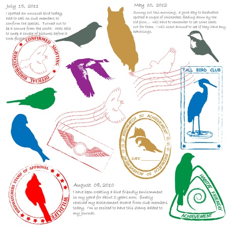 Bird Watching Stamps Icon Set        Illustration