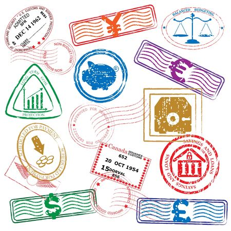 Financiën Postzegels Icon Set Stock Illustratie