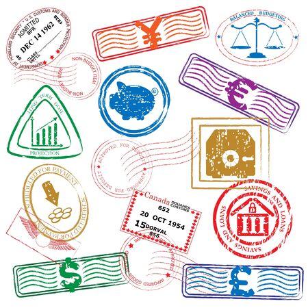 Financiën Postzegels Icon Set Stock Illustratie