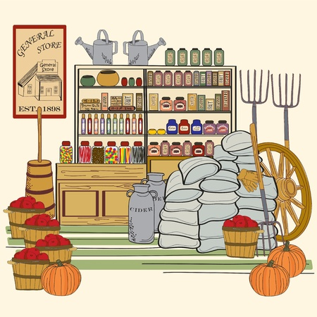 general store: Vintage General Store Illustration