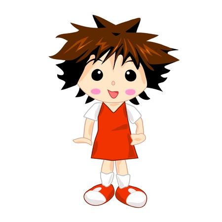 School Girl in Red Uniform Dress Stock Vector - 12849914