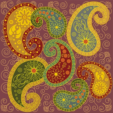Colorful Paisley Background Ilustracja