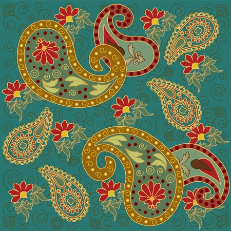Colorful Paisley Background in Green Illustration