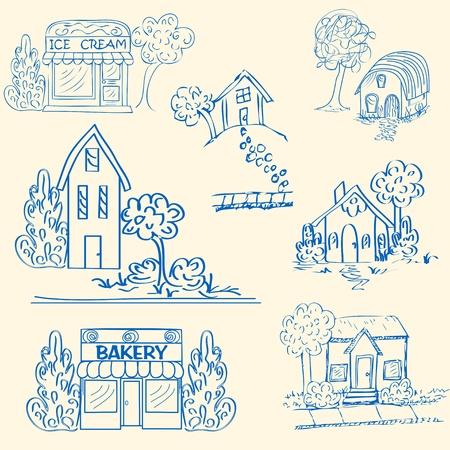 Hand Drawn Houses Icon Set