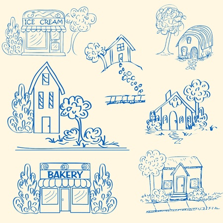 Hand Drawn Huizen Icon Set Stock Illustratie