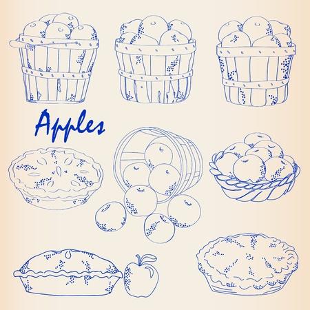 Hand Drawn Apples Icon Set