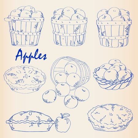 Hand Drawn Apples Icon Set Vector
