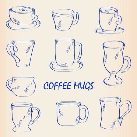 Hand Drawn Coffee Mugs Icon Set Vector