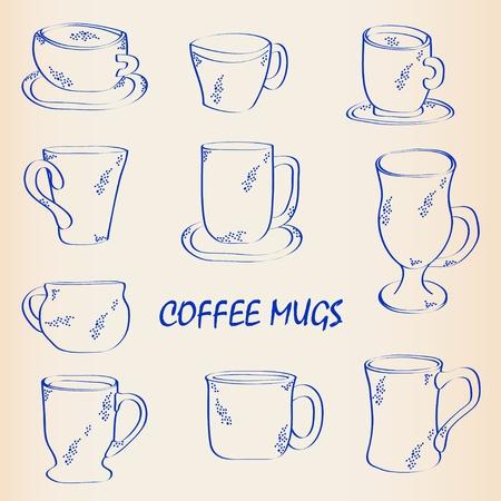 Hand Drawn Coffee Mugs Icon Set Vector
