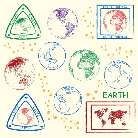 Planet Earth Stamp Icon Set Illustration