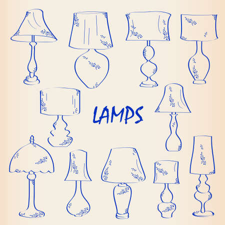 Hand Getrokken Lampen Icon Set Stock Illustratie