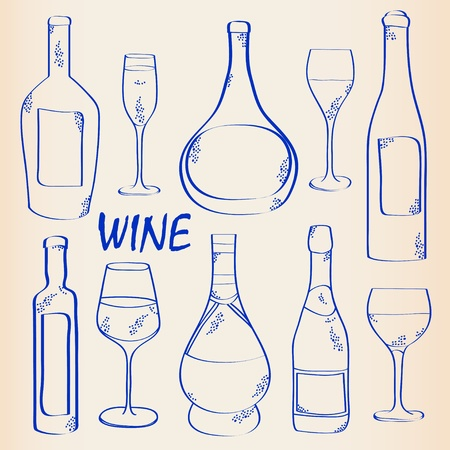Hand Drawn Wine and Glass Icon Set Vector